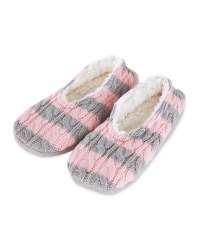 Ladies' Striped Knitted Slipper Sock - Pink/Grey