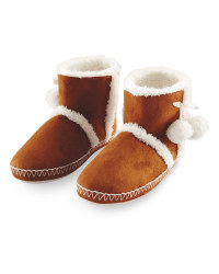 Ladies' Suedette Boot Slippers