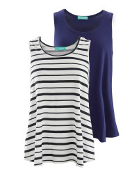 Avenue Ladies' Swing Vest 2-Pack - Navy/Stripe