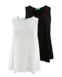 Avenue Ladies' Swing Vest 2-Pack - White/Black