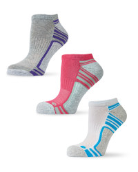 Ladies' Trainer Socks 3-Pack - Grey (White, Purple, Pink, Blue)