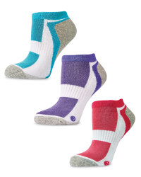 Ladies' Trainer Socks 3-Pack - White (Pink, Grey, Purple, Blue)