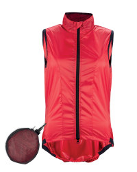 Ladies' Ultra Light Cycling Gilet - Red & Black