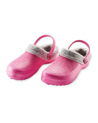 Ladies' Avenue Warm Lined Clogs - Pink/Grey