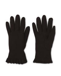 Ladies' Black Frill Gloves