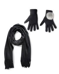 Ladies Black Scarf & Glove Gift Set