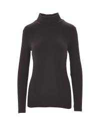 Ladies' Black Ski Roll Neck Top