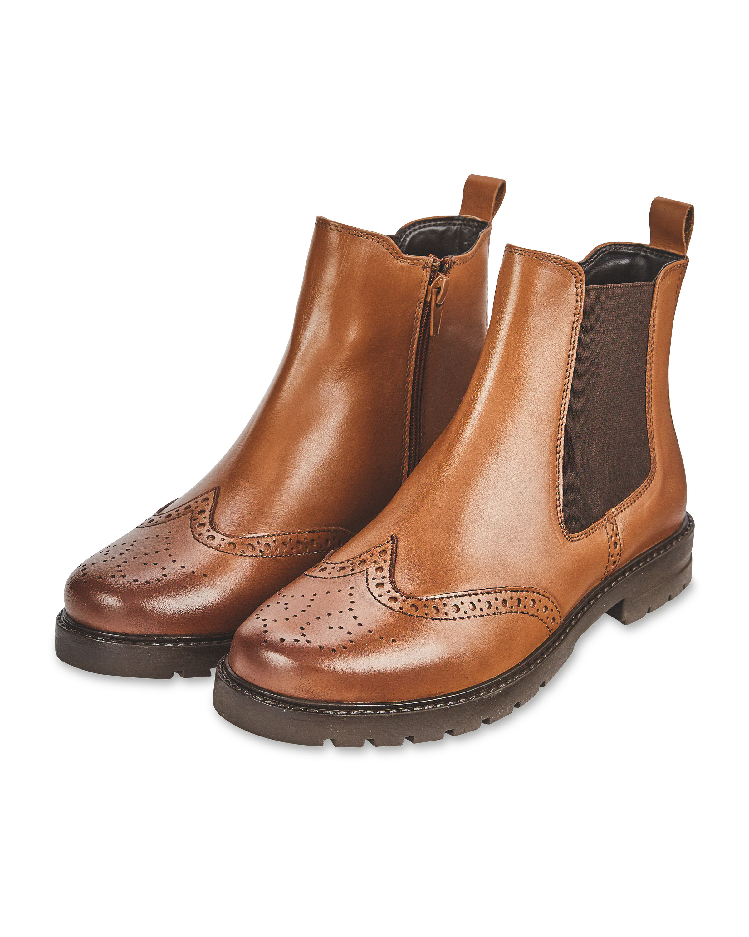 Ladies' Brown Leather Chelsea Boots