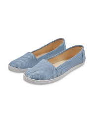 Ladies' Canvas Pumps - Blue Stripe