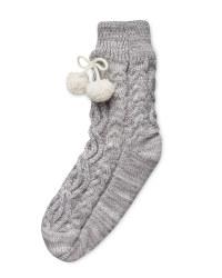 Ladies' Chunky Knit Slipper Socks - Grey