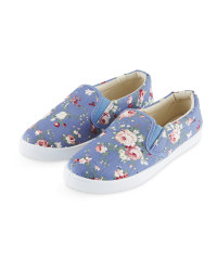 Ladies Denim Floral Canvas Pumps