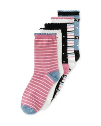 Ladies Stripy Socks 5 Pack