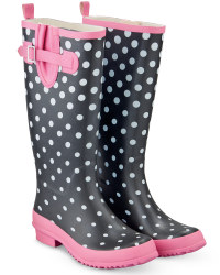 Ladies Fashion Wellies - Black/Pink Polka Dot