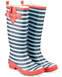 Ladies Fashion Wellies - Navy/Red Striped