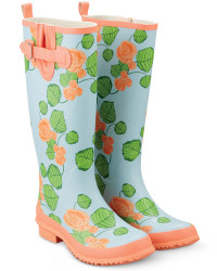 Ladies Fashion Wellies - Peach Floral