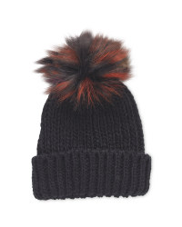 Avenue Ladies Faux Fur Beanie - Black