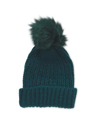 Avenue Ladies Faux Fur Beanie - Green