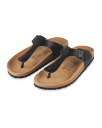 Ladies' Footbed Toepost Sandal - Black