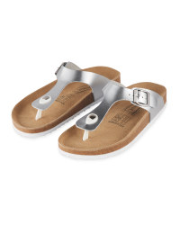 Ladies' Footbed Toepost Sandal - Silver