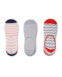 Ladies' Zig-Zag Footsie Socks 3 Pack