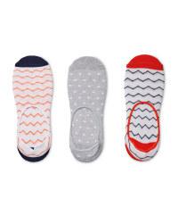 Ladies' Zig-Zag Footsie Socks 3 Pack