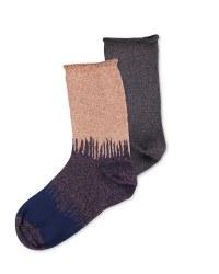 Avenue Ladies' Glitter Socks 2 Pack - Navy/Pink