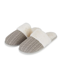 Ladies' Grey Knit Luxury Slippers