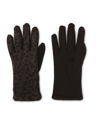 Ladies' Grey Leopard Gloves