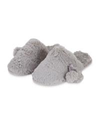 Ladies' Grey Plush Luxury Slippers