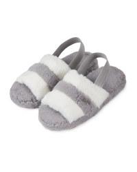 Ladies' Avenue Grey Plush Sliders