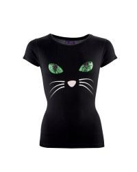 Ladies Halloween Cat T-Shirt