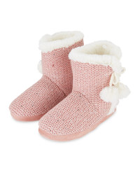 Ladies' Pink Knitted Boots