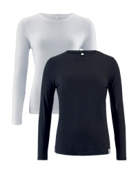 Ladies' Long Sleeve T-Shirt 2-Pack - Black/White