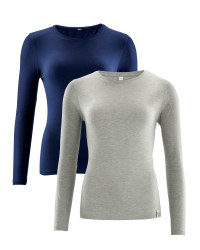 Ladies' Long Sleeve T-Shirt 2-Pack - Navy/Grey