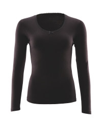 Avenue Ladies Long Sleeve Top - Black
