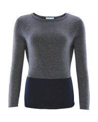 Avenue Ladies Metallic Jumper - Navy/Gold