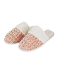 Ladies Pink Chenille Luxury Slippers