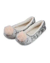 Ladies Pom Pom Ballerina - Grey