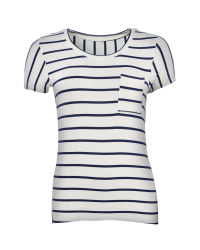 Ladies' Short-Sleeved T-Shirt - Cream / Blue