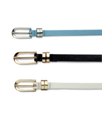 Ladies' Slim Belts - 3 Pack - Black / Blue / White