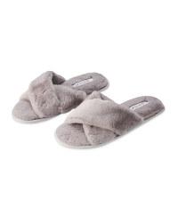Ladies' Grey Crossover Slippers