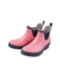 Ladies' Spot Wellington Boots - Pink