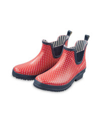 Ladies' Spot Wellington Boots - Red