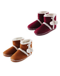 Ladies Suedette Boot Slippers