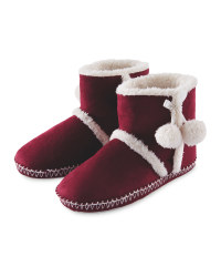 Ladies Suedette Boot Slippers - Berry