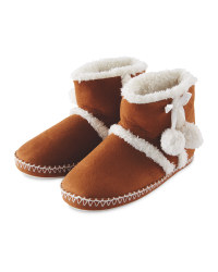 Ladies Suedette Boot Slippers - Tan