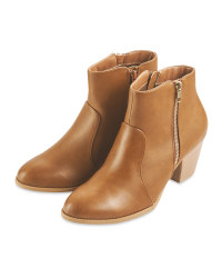 Ladies Tan High Heel Ankle Boots