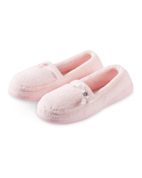 Ladies Towelling Slippers - Pink