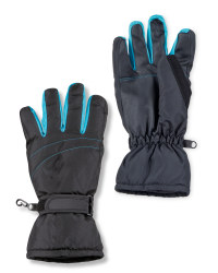 Ladies Turquoise Ski Gloves