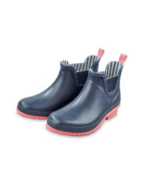 Ladies' Wellington Boots - Navy & Pink
